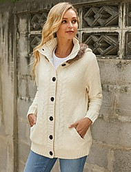 cheap -Women's Stylish Knitted Hooded Solid Colored Cardigan Long Sleeve Sweater Cardigans Hooded Fall Winter Beige
