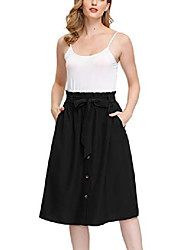 cheap -womens a line elastic waist front button up skirt with pockets and belts