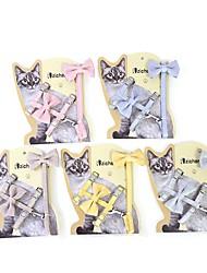 cheap -Dog Cat Harness Leash Portable Cute and Cuddly Vest Anti Lost Solid Colored Bowknot Polyester Alaskan Malamute Golden Retriever Dalmatian Shiba Inu Pug Bichon Frise Yellow Pink Gray Coffee Light Blue