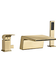 cheap -Bathtub Faucet - Contemporary Nickel Brushed Roman Tub Ceramic Valve Bath Shower Mixer Taps / Brass / Single Handle Three Holes