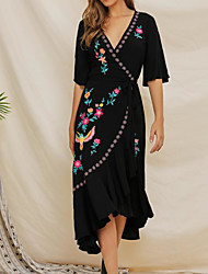 cheap -Women's A-Line Dress Midi Dress - Half Sleeve Animal Embroidered Ruffle Patchwork Summer V Neck Sexy Cotton Slim 2020 Black S M L XL