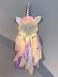 cheap -Led Boho Dream Catcher Handmade Gift Wall Hanging Decor Art Ornament Craft Feather Unicorn Flower Bead 16*65cm for Kids Bedroom Wedding Festival