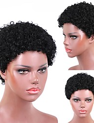 cheap -Remy Human Hair Wig Short Afro Afro Curly Short Bob Natural Women Sexy Lady New Capless Malaysian Hair Women's Natural Black #1B 6 inch