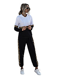 cheap -Women's Sweatsuit 2 Piece Set Leopard Print Patchwork Loose Fit Hoodie Color Block Cute Sport Athleisure Clothing Suit Long Sleeve Warm Soft Oversized Comfortable Everyday Use Causal Exercising