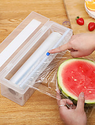 cheap -Plastic Kitchen Foil And Cling Film Wrap Dispenser Cutter Storage Preservative Film Roll Case With Cutting Blade