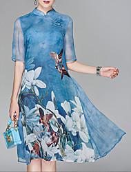 cheap -Women's Knee Length Dress Chiffon - Half Sleeve Floral Print Summer Stand Chinese Style Going out Floral Purple Light Blue L XL XXL XXXL