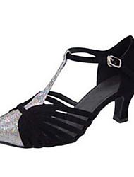 cheap -Women's Latin Shoes Heel Flared Heel PU Leather Buckle Paillette Black / Almond