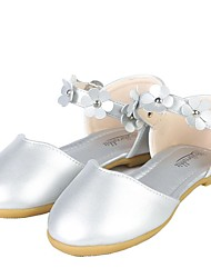 cheap -Girls' Sandals Flower Girl Shoes Leather Big Kids(7years +) Walking Shoes Flower Pink / Silver Summer