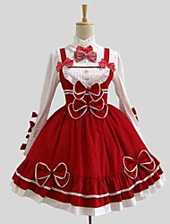 cheap -Gothic Lolita Rococo Dress Coat Blouse / Shirt Women's Girls' Cotton Japanese Cosplay Costumes Red Solid Colored Long Sleeve Knee Length