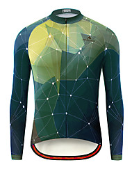cheap -Miloto Men's Long Sleeve Cycling Jersey Green Bike Jersey Top Mountain Bike MTB Road Bike Cycling Breathable Quick Dry Ultraviolet Resistant Sports Clothing Apparel / Stretchy / Italian Ink