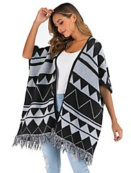 cheap -Women's Ball Gown Slip Knitted Geometric Cardigan Half Sleeve Sweater Cardigans Open Front Fall Winter Black