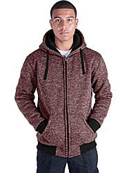 cheap -plus size s-5xl marled fleece hoodie for men heavyweight sherpa lined full zip up big&tall long sleeve winter jacket coat(red, l)