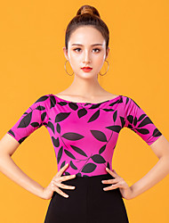 cheap -Ballroom Dance Top Pattern / Print Women's Performance Short Sleeve Ice Silk