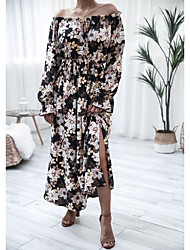 cheap -Women's Swing Dress Maxi long Dress - Long Sleeve Print Ruffle Ruched Print Fall Off Shoulder Casual Going out Flare Cuff Sleeve Slim 2020 Black S M L XL