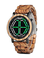 cheap -bamboo watch mens large size digital led display night vision handmade wooden watches (green)