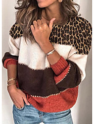 cheap -Women's Basic Knitted Leopard Cheetah Print Pullover Long Sleeve Loose Sweater Cardigans Crew Neck Round Neck Fall Winter Red Gray