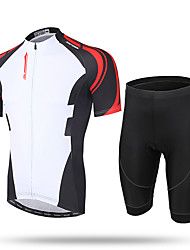 cheap -21Grams Men's Short Sleeve Cycling Jersey with Shorts Coolmax® Mesh Spandex White / Black Novelty Bike Shorts Pants / Trousers Jersey Breathable 3D Pad Quick Dry Ultraviolet Resistant Reflective