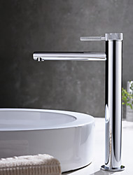cheap -Bathroom Sink Faucet - High Chrome / Brushed Gold / Black Or White Painted Finishes Centerset Single Handle One Hole Bath Mixer Taps Deck Mounted Tall Vessel Vanity Basin Faucet