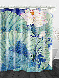 cheap -Painting Lotus Digital Print Waterproof Fabric Shower Curtain for Bathroom Home Decor Covered Bathtub Curtains Liner Includes with Hooks