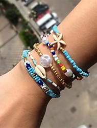 cheap -5pcs Women's Bead Bracelet Friendship Bracelet Bracelet Stacking Stackable Fashion Star Stylish Luxury Elegant Cute Boho Glass Bracelet Jewelry Blue For Gift Date Birthday Beach Festival / Shell