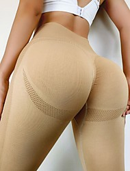 cheap -Women's High Waist Yoga Pants Seamless Ruched Butt Lifting Tights Leggings Tummy Control Butt Lift 4 Way Stretch Yellow Orange Khaki Nylon Fitness Gym Workout Running Sports Activewear High Elasticity
