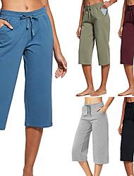 billige -Dame Yoga bukser Lomme Snørelukning Capri bukser Åndbart Hurtigtørrende Sort Army Grøn Blå Yoga Fitness Løb Sport Sportstøj Elastisk