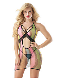cheap -Women's Mesh Babydoll & Slips Bodysuits Nightwear Rainbow Rainbow One-Size