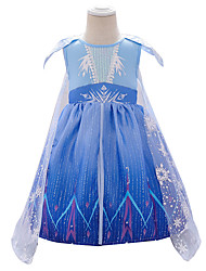 cheap -Elsa Dress Cosplay Costume Girls' Movie Cosplay Vacation Dress Halloween Blue Dress Halloween New Year Polyester / Cotton