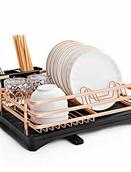 cheap -dish drying rack, aluminum rust proof dish rack and drainboard set with removable cutlery holder and 360 swivel spout drain board for kitchen counter (rose gold, 1 tier)