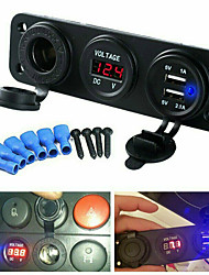 cheap -3 hole panel power socket dual usb car charger socket voltmeter Cigarette Lighter Socket +2.1A Dual USB Power Adapter Charger + LED Digital Voltmeter for Car Motorcycle Boat Truck Tractor Trailer RV