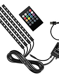 cheap -E6 Car RGB USB LED Strip Light Interior Styling Decorative Atmosphere Lamps Strip LED With Remote Voice controlled rhythm lamp
