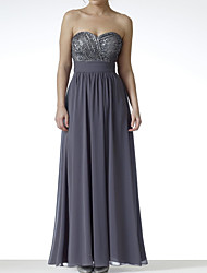 cheap -A-Line Strapless Floor Length Chiffon / Sequined Bridesmaid Dress with Pleats