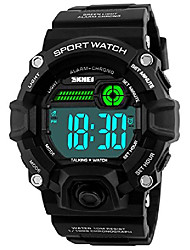 cheap -men sport watch talking music alarm snooze led digital watches outdoor military shockproof luminous watch (black)