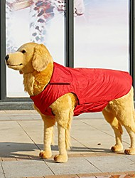 """cheap -large dog jacket, cozy waterproof windproof polyester-fleece lined reflective pet jacket dog vest warm dog apparel for large dogs in winter autumn days (5xl(chest: 41""""~45""""), red)"""