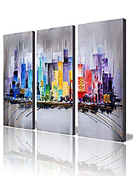 "cheap -modern 100% hand painted framed wall art""colorful city"" 3-piece gallery-wrapped abstract oil painting on canvas ready to hang for living room for wall decor home decoration 24x36inches"