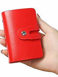 cheap -rfid credit card holder, leather business card organizer with 26 card slots, credit card protector for carrying important cards and documents with you to prevent damage and loss. & #40;red&