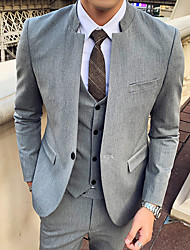 cheap -Tuxedos Tailored Fit / Standard Fit Mandarin Single Breasted One-button Cotton Blend / Cotton / Polyester Solid Colored