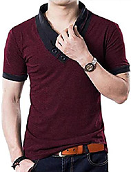 cheap -100% cotton mens casual v-neck button slim muscle tops tee short sleeve t- shirts & #40;us x-large, wine red& #41;