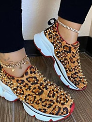 cheap -Women's Trainers Athletic Shoes Fantasy Shoes Flat Heel Round Toe Sporty Daily PU Rivet Leopard Leopard Red Black