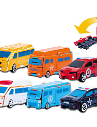 cheap -Construction Truck Toys Transformer Toys Mini Police car Ambulance Vehicle Bus Transformable Plastic Mini Car Vehicles Toys for Party Favor or Kids Birthday Gift / Kid's