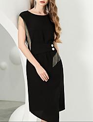 cheap -Sheath / Column Elegant Little Black Dress Homecoming Cocktail Party Dress Jewel Neck Short Sleeve Knee Length Cotton with Tassel 2020
