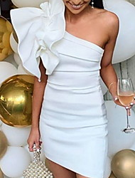 cheap -Women's Sheath Dress Short Mini Dress - Sleeveless Ruffle Summer One Shoulder Sexy Cocktail Party Slim 2020 White S M L XL XXL