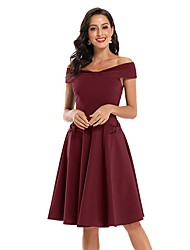 cheap -Women's A-Line Dress Knee Length Dress - Sleeveless Solid Color Bow Summer Off Shoulder Sexy Party Slim 2020 Black Wine Army Green Navy Blue S M L XL XXL