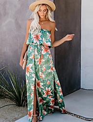 cheap -Women's Sheath Dress Maxi long Dress - Sleeveless Floral Summer Strapless Sexy Boho Loose 2020 Green S M L XL