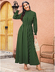 cheap -Women's Swing Dress Maxi long Dress - Long Sleeve Polka Dot Ruched Print Fall Casual Boho Loose 2020 Blue Wine Green S M L XL