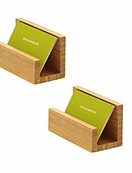 cheap -enyuwlcm bamboo wood desktop business card holder display for desk sturdy business card stand for office tabletop counter organizer 2 pack