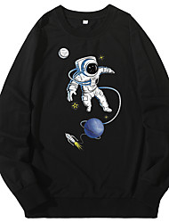 cheap -Men's Sweatshirt Artistic Style Crew Neck Cartoon Stars Sport Athleisure Pullover Long Sleeve Warm Soft Oversized Comfortable Everyday Use Causal Exercising General Use
