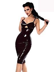 halpa -Exotic Dancewear Leninki Yksivärinen Naisten Party Suoritus Hihaton Luonnollinen PVC