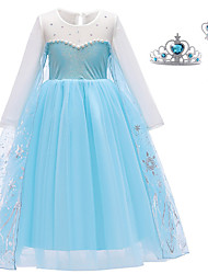 cheap -Elsa Dress Cosplay Costume Girls' Movie Cosplay Vacation Dress Halloween Blue Dress Wand Christmas Halloween New Year Polyester / Cotton Polyester