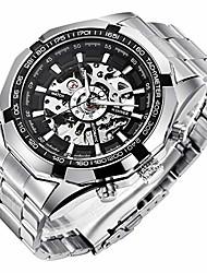 cheap -winner mens watches, mechanical skeleton stainless steel waterproof automatic self-winding watch for men, luxury x dial steampunk wrist watch litbwat